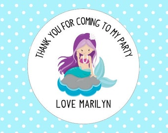 Mermaid Party Stickers Custom Personalized Thanks For Coming To My Party Stickers Goodie Bag Gift Party Box Stickers
