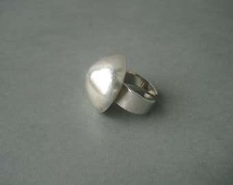 Large modernist minimalist sterling silver ring.