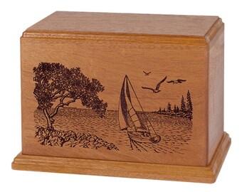 Mahogany Soft Breezes Wood Cremation Urn