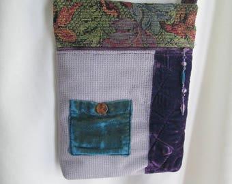 Shoulder Bag - Purple Velvet & Multi-colored Tapestry - Beaded Zipper Pull - Gift for Her