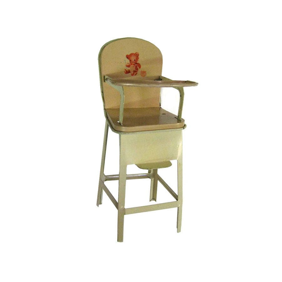 J Chein and Co Toy Tin High Chair - Metal Dollhouse Furniture - 8 Inch Doll - J Chein And Co Toy Tin High Chair - Metal Dollhouse Furniture - 8