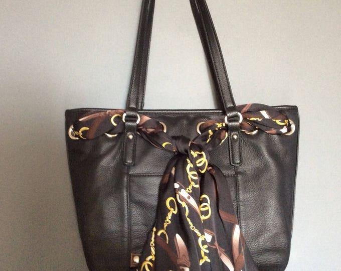 Black Leather Equestrian Horse Handbag Purse with Satin Horse Bit Scarf