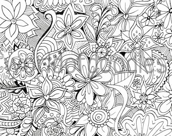 A4 Flower Colouring Pages : Summer coloring page Etsy
