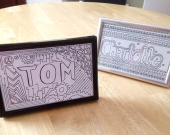 """Names in Frames: Custom 6-4"""" Frame, Name or Quote, Hand-drawn, Gift, Present, Birthday/Christmas, Work Colleague, Personalised, Black/Silver"""