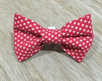 Red Stars Dog Bow-Tie / Loops onto collar with elastic