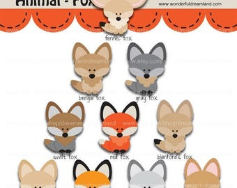 50% OFF Fox 1 - PNG SVG Eps Vector Instant Download Printable Cliparts Clip Arts Digital File Scrapbooking Kit