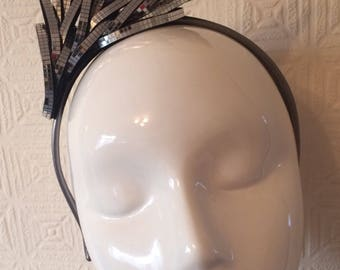 Unique handmade silver mirror on black felt detailed headband