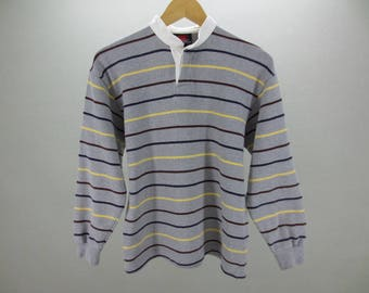 Canterbury Polo Shirt Vintage Canterbury of New Zealand Stripes Long Sleeves Rugby Polo Shirt Men's Size XS