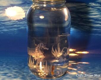Goldfish Jar Seahorse Theme Room Decor Beach House Decoration Etched Glass Mason Jar Gift For College Student Dorm Room Mascot Classroom Pet