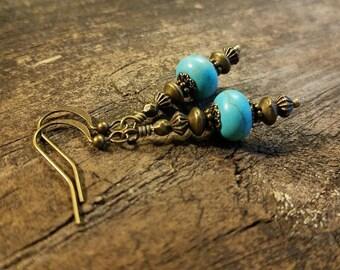 Boho Earrings, Bronze Earrings, Victorian Earrings, Turquoise Earrings