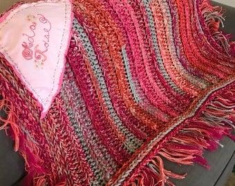 Blanket, Crochet baby blanket, hand embroidered baby blanket, embroidered name, orange, hot pink and gray baby blanket, fringe baby blanket