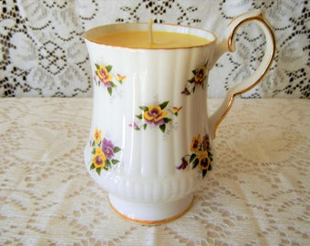 Teacup Candle, Scented, Jasmine, Vintage Royal Windsor Bone China, Hand Poured Soy Candle