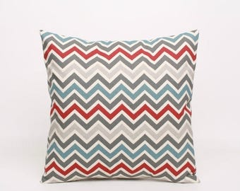 Summer Sale Chevron Throw Pillow Cover in Red, Blue, Gray and Natural (Cream), 16x16 Throw Pillow, Decorative Pillow Cover Accent Pillow Sha