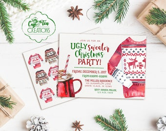Ugly Sweater Invitation, Ugly Sweater Party Invitation, Ugly Christmas Sweater Invitation, Ugly Sweater Christmas Party Invitation