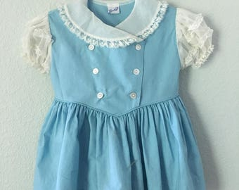 Vintage 50s girls dress, light blue and white lace dress, Linda Lo toddler dress, Made by Hymar, button down dress, special occasion dress