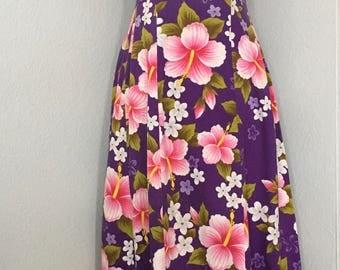Vintage Ui-Maikai Hawaiian Dress, Made in Hawaii,  purple with pink flowers,  long flowered sun dress,