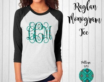 Monogram Shirt, Monogram Raglan Tee // Lilly Monogram T-Shirt in Pattern 929