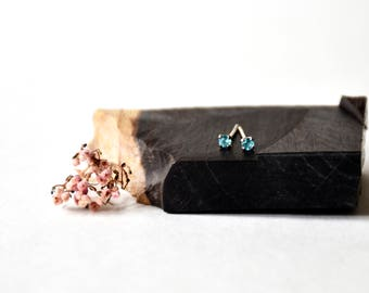 Handmade Blue Spinel with sterling silver Stud Earring, Ready to Ship
