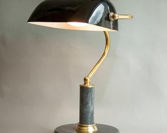 Vintage Retro 1970s/80s Black Bankers Desk Lamp Working & PAT Tested Marble/Granite Base