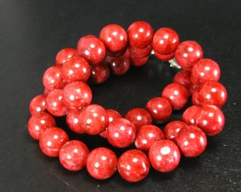"""Rare Thulite Necklace Beads From Norway - 19"""" - 10mm Round Beads"""