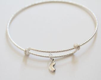 Sterling Silver Bracelet with Sterling Silver Bean Charm, Bean Bracelet, Tiny Bean Bracelet, Silver Bean Bracelet, Kidney Bean Bracelet