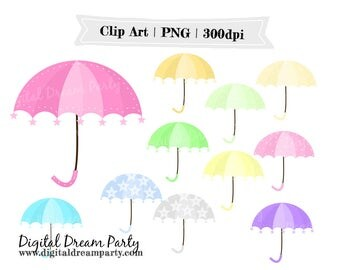 Umbrellas and Clouds Baby Shower PNG Commercial Use