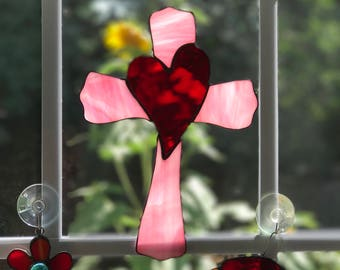 Heart on a Cross Stained glass suncatcher, stained glass cross, cross with heart