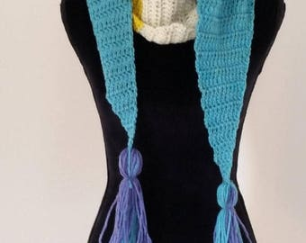 ON SALE Boho Scarf - Scarf, Tassels, Crochet Scarf, Bulky Scarf, Chunky Scarf, Winter Scarf, Multicolor, Ladies Scarf, Girls Scarf, Triangle
