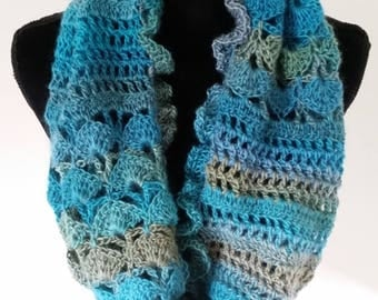 ON SALE Infinity Scarf - Cowl Scarf, Ladies Scarf, Circle Scarf, Turquoise Scarf, Gift for Her, Valentine Day Gift, Crochet Scarf, Ruffle Sc