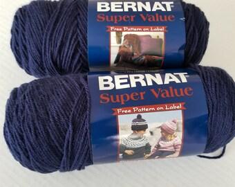 Yarn - Bernat Super Value Yarn, Craft Supplies, Knitting Supplies, Crochet Supplies, Navy Blue Yarn, Craft Yarn