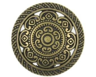 Metal Buttons - Metal Lacework Filigree Antiqued Brass Metal Shank Buttons - 23mm - 7/8 inch - 6 pcs