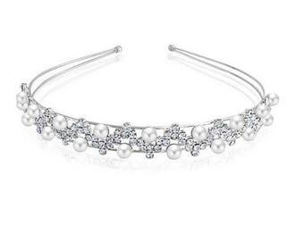 headband crystal brides prom dance pearl silver