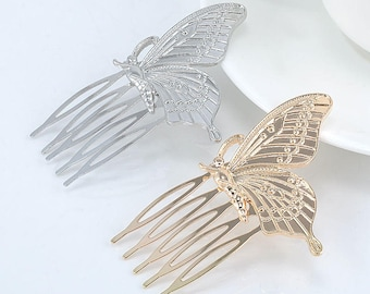 Butterfly hair comb in gold or silver