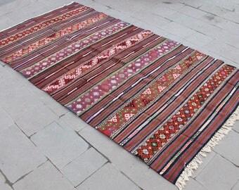Turkish Kilim Rug 62''x114'' Hand Woven Balikesir Cicim Kilim 158x290cm