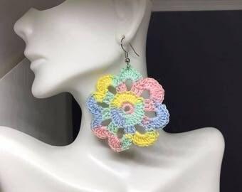 Crochet Pastel Flower Earrings