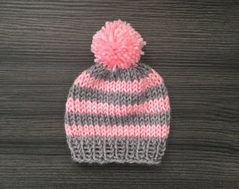 Custom Knit Striped Baby Hat - Handmade, Hand Knitted, Baby Hats, Baby Beanies, Baby Shower Gifts, Pompom Hats, Hand Knitted Hats