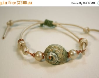 LABOR DAY SALE Nauti-Gal Boho Beach Bracelet/ Beach Jewelry/ Shell Pearl and Leather Bracelet/ Colored Leather Bracelet