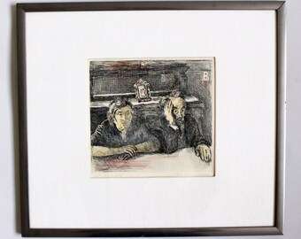 Mid Century Modern Raphael Soyer Artist Proof of the Artist's Parents Signed