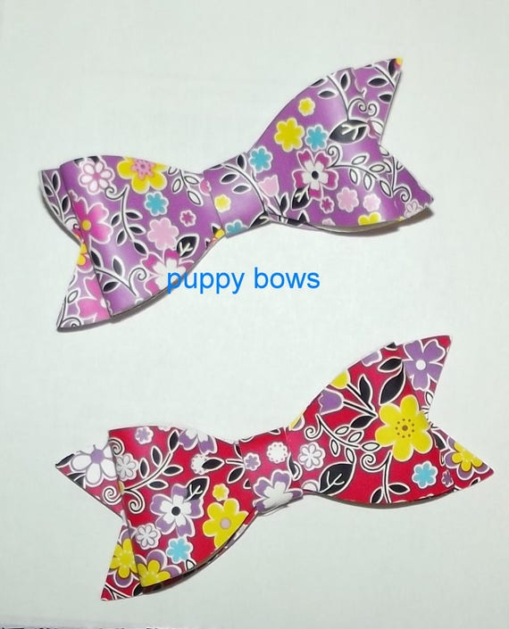Puppy Bows ~ Red or Purple floral daisy bows barrette pet hair clip  ~USA seller (fb62)
