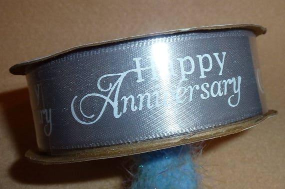"Puppy Bows ~  craft supplies silver/gray/white happy anniversary  ribbon 7/8"" x 3 yards (CS2)"
