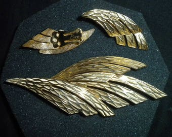 Vintage Coro signed Brooch and Earrings Set