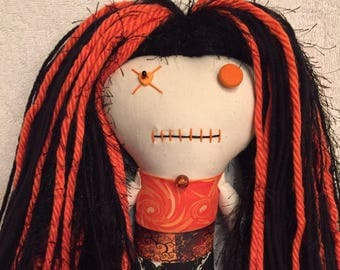 "Creepy n Cute Zombie Doll ~ ""Orange Skull Swirling Menage"" (P)"