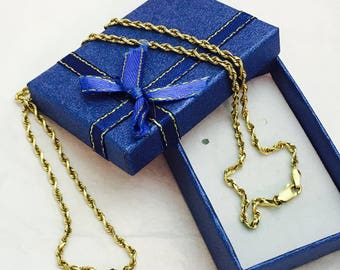 "Vintage 14K Yellow Gold Twisted Chain Necklace - 22"" Long - 7.2 Grams"