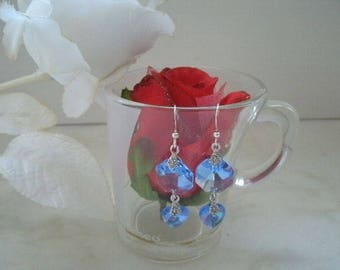 "Earrings ""swarovski crystal heart earrings"