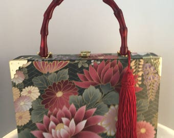 Pink Flowers and Green Foliage Cigar Box Purse