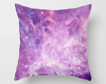 Purple Galaxy Throw Pillow, stars, nebula,  lavender,  modern, outer space, pillows, cushions, throw pillow