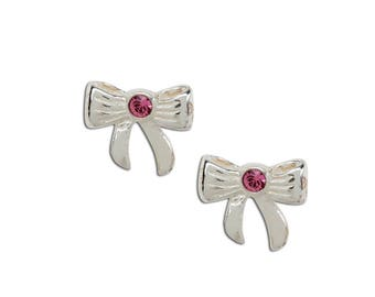 Sterling Silver Bow Earrings with Pink Sparkling Crystal for Girls with Screw Backs (SSE-Bow)