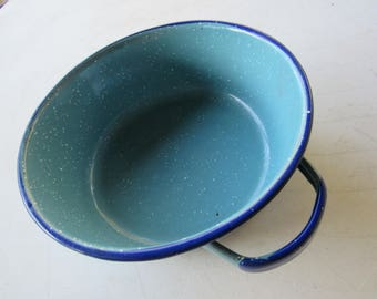 Blue Enamel Bowl with Handles