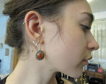 Vintage Silver and Mexican Fire Opal Earrings