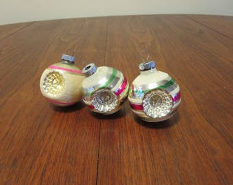 "lot 3 vintage 1940s 1950s Shiny Brite glass Christmas tree ornaments decorations gold silver stripe starburst 2 1/4"" diameter (122116)"